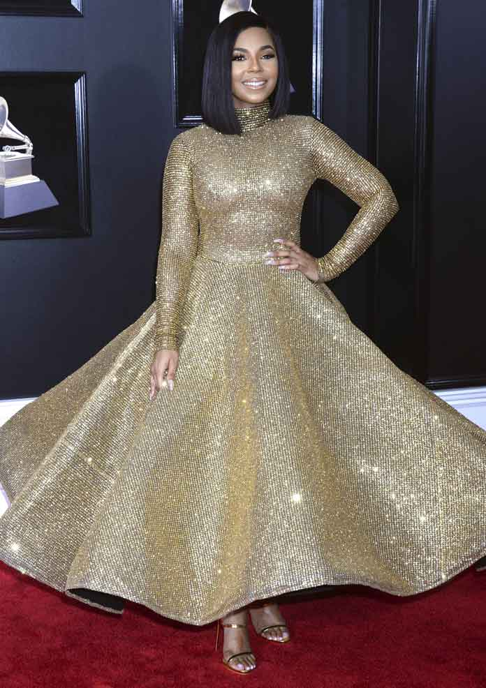Ashanti Shines At The Grammys In Gold Elie Madi Gown
