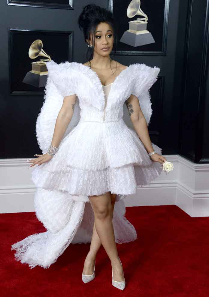 Cardi B Looked Stunning At The Grammys In White Ashi Studio Gown