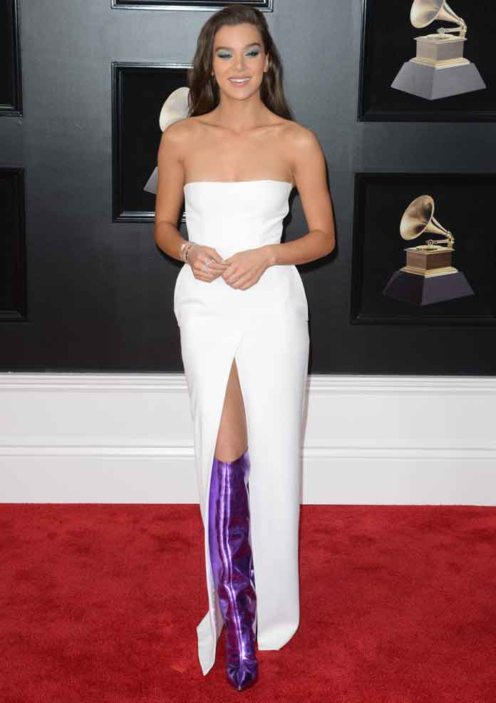 Hailee Steinfeld Steps Onto The Grammys Red Carpet With Purple Alexandre Vauthier Boots