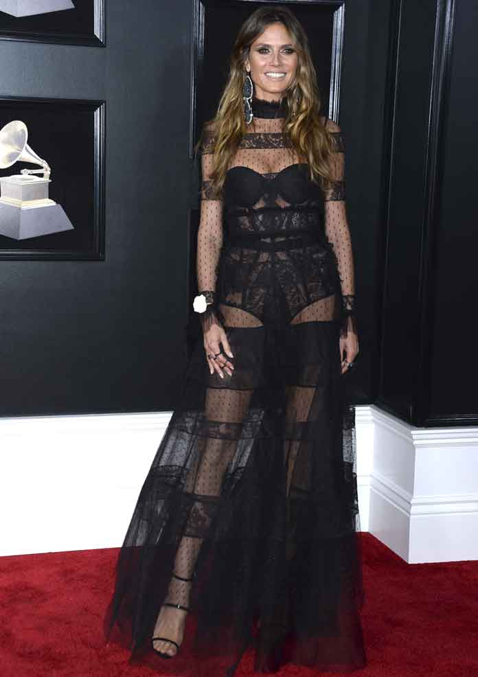 Heidi Klum Attends Grammys In Ashi Studio Sheer Dress