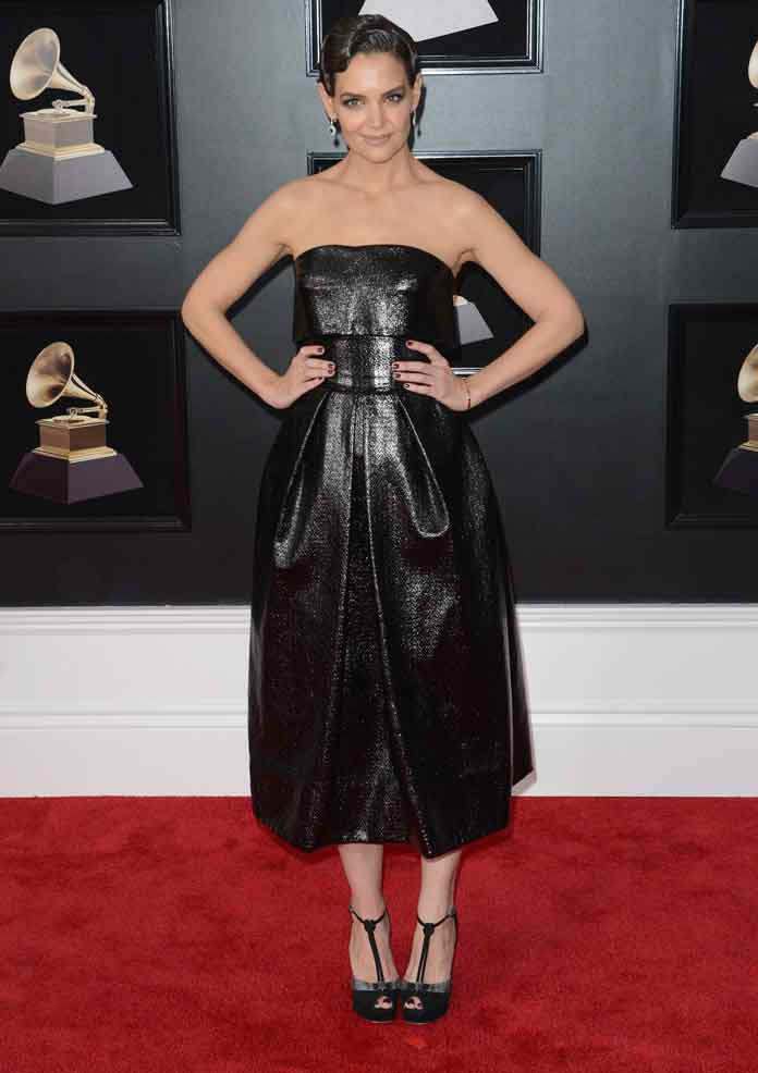 Katie Holmes Attends Grammys In Little Black Dress By Zac Posen