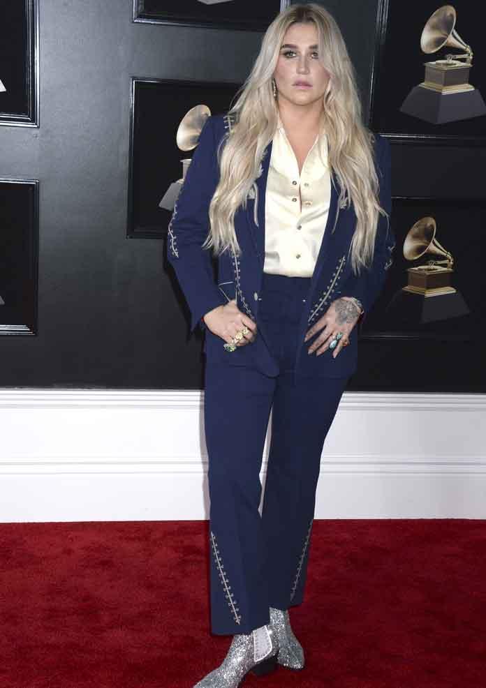Kesha Wears Nudie Cohn's Personal Suit To Grammys