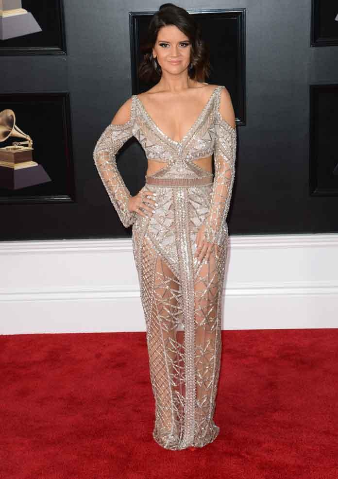 Maren Morris Shimmers In Julien Macdonald Dress On Grammys Red Carpet