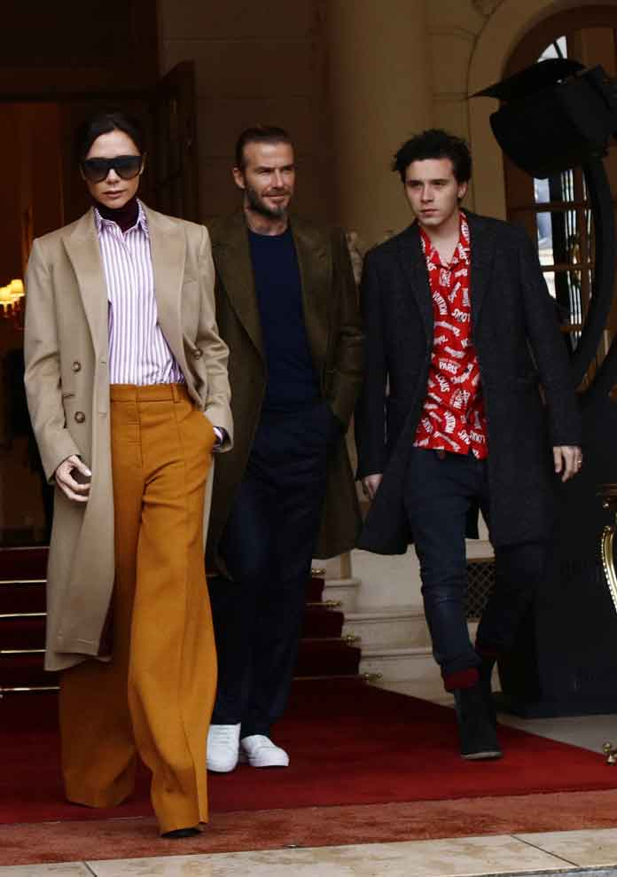 Victoria, David & Brooklyn Beckham Family Take Stylish Outing During Paris Fashion Week