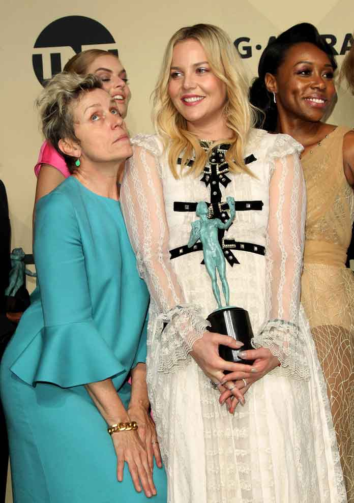 Frances McDormand Gets Silly With Co-Stars In SAG Awards Press Room