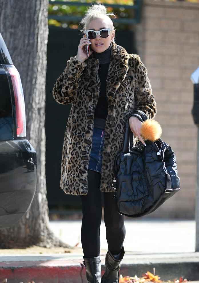 Gwen Stefani Wears Leopard Print Coat & Jimmy Choo Boots Running Errands