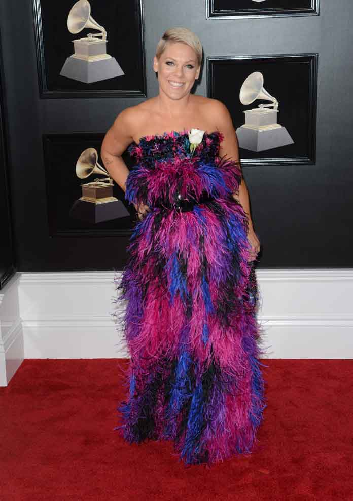 Pink Wears Custom Armani Feather Dress To 2018 Grammys [PHOTOS]