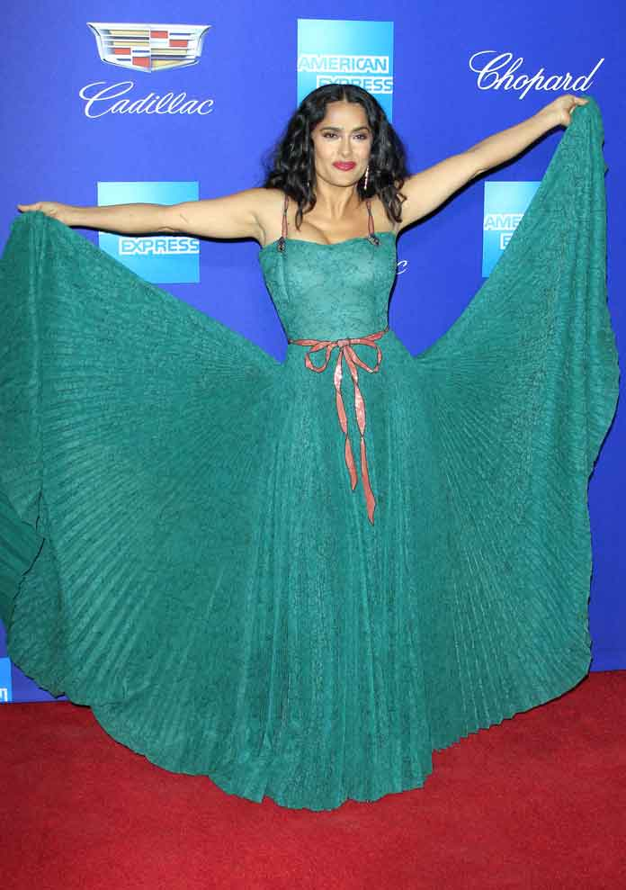 Salma Hayek Attends Opening Of 29th Palm Springs International Film Festival In Gucci Gown