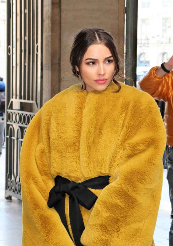 Olivia Culpo Attends Paris Fashion Week In Yellow Lanvin Coat