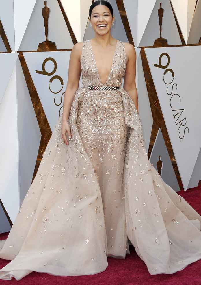 Gina Rodriguez Wears Zuhair Murad Gown On Oscars 2018 Red
