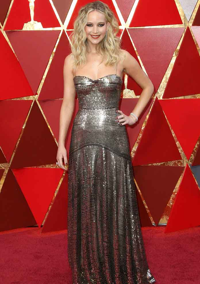 Jennifer Lawrence Wears A Sequined Christian Dior Dress To The Oscars