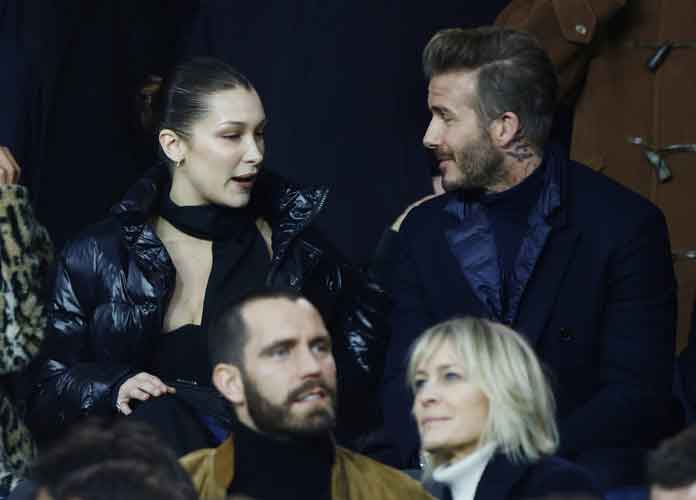 David Beckham & Bella Hadid Attend Soccer Match With Other Celebrities
