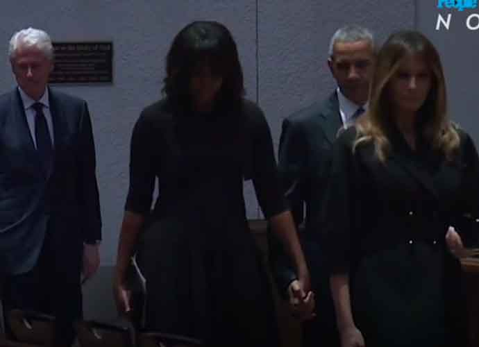 Melania Trump Seen Smiling With Barack Obama At Barbara Bush's Funeral