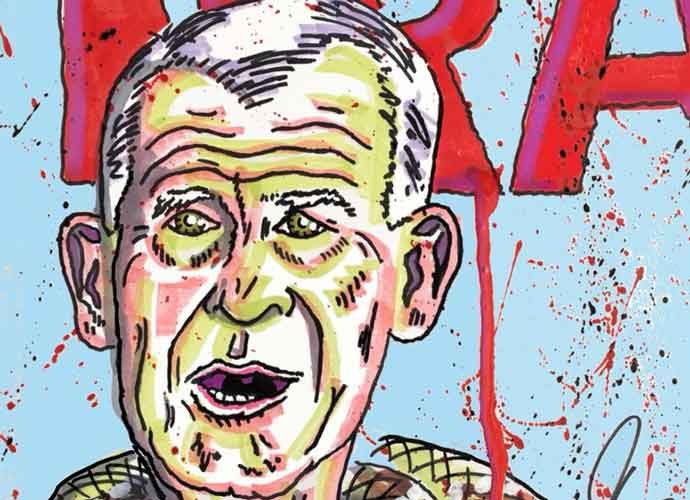 Jim Carrey's Latest Painting Shows Oliver North As Snake Over Bleeding NRA Sign