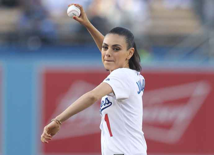 Mila Kunis Throws First Pitch At Dodgers Vs. Rockies Game