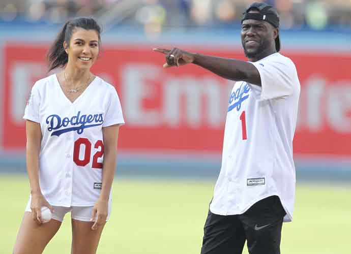 Kourtney Kardashian & Kevin Hart Throw First Pitch at Los Angeles Dodgers Game