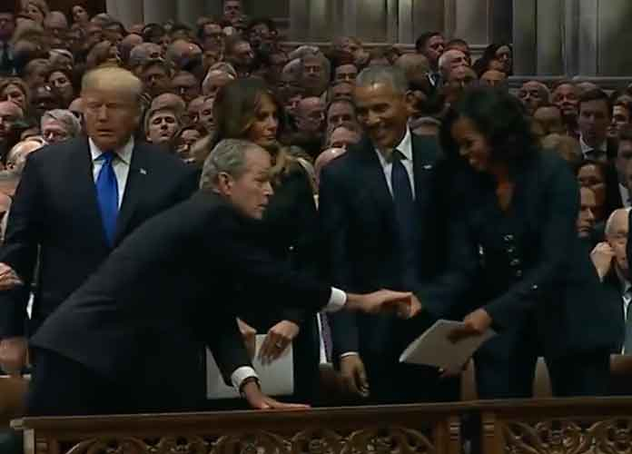 George W. Bush Slips Michelle Obama Mint At Father George H.W. Bush's State Funeral [VIDEO]