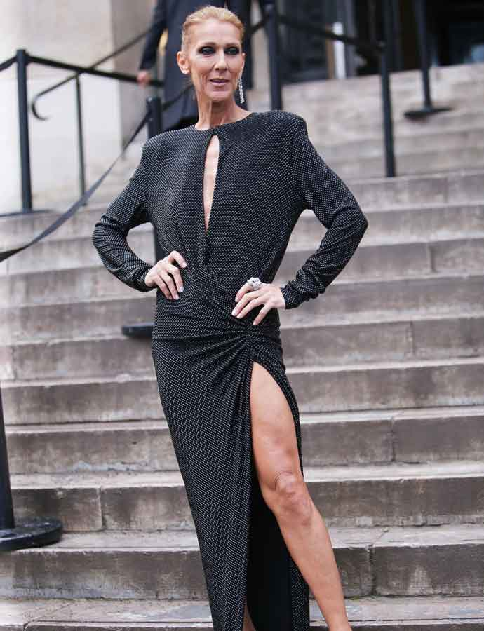 A Very Skinny Celine Dion Shows Off Leg At Alexandre Vauthier Show In Paris With Pee Munoz