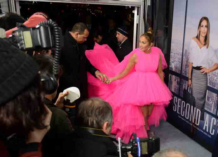 Jennifer Lopez Kills It At Premiere Of 'Second Act' In Pink Dress With Extra-Long Train Assisted By Alex Rodriguez