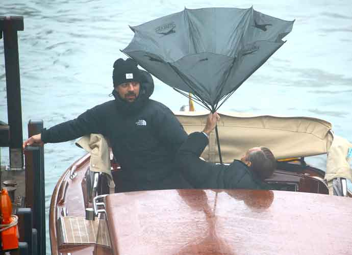 Jude Law Struggles With Umbrella During Filming 'The Young Pope' Season 2