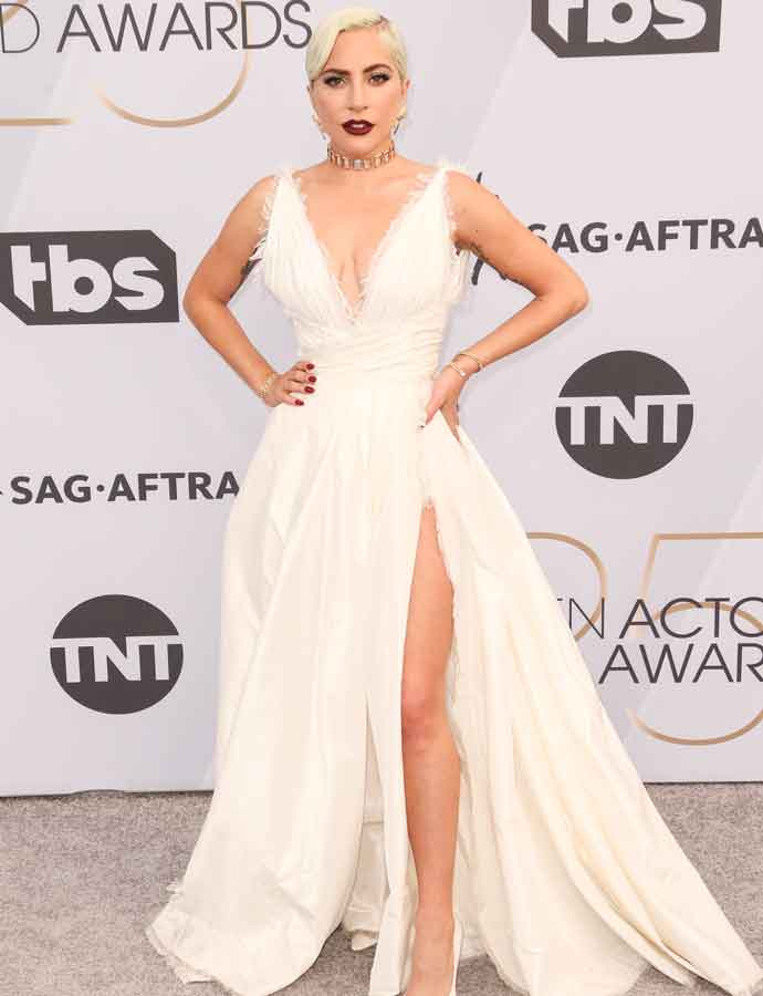 Lady Gaga Stuns In Dior Gown At SAG Awards With Fiancee Christian Carino