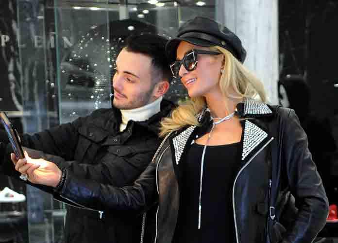 Paris Hilton Visits Philipp Plein Boutique In Milan During Men's Fashion Week