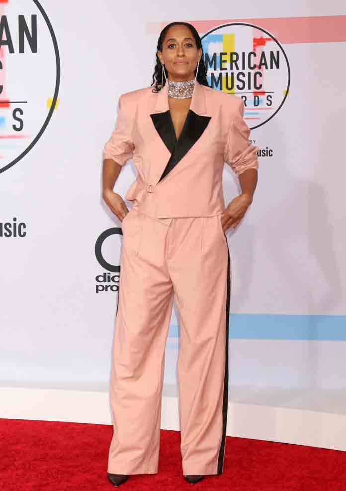 Tracee Ellis Ross Lights Up Social Media After Wearing Pyer Moss Pink Suit To AMAs 2018 [PHOTO]