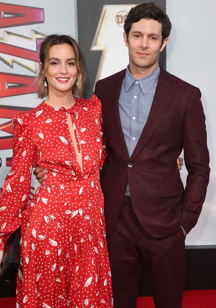 Adam Brody & Wife Leighton Meester Walk Red Carpet For First Time Together At L.A. Premiere Of 'Shazam!'
