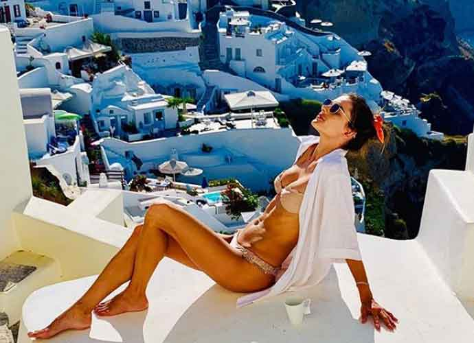 Alessandra Ambrosio Relaxes In A Bikini In Santorini, Greece, After Florence Fashion Show