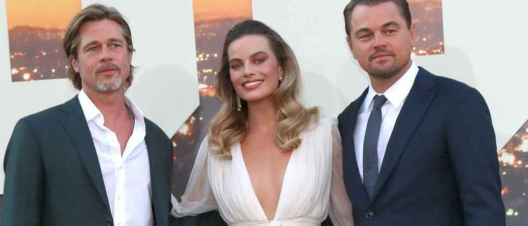 Brad Pitt, Margot Robbie & Leonardo DiCaprio Huddle At 'Once Upon A Time In Hollywood' Premiere [PHOTOS]