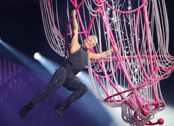 Pink Hangs From A Chandelier On Her 'Beautiful Trauma' Tour At Liverpool Anfield Stadium