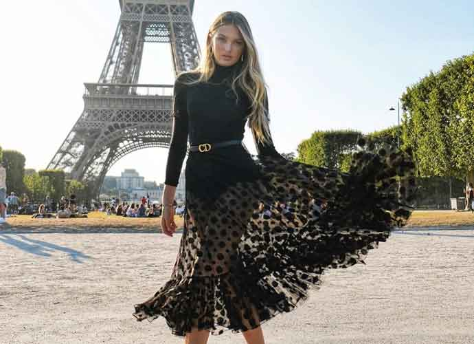 Romee Strijd Strikes A Pose In Front Of The Eiffel Tower