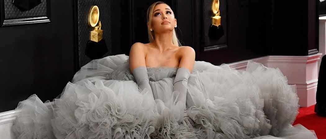 Ariana Grande Wears 20-Foot Wide Grey Giambattista Valli Gown To The Grammys!