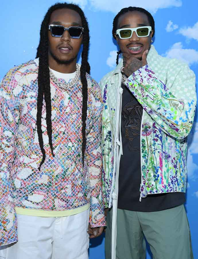 Migos Attend Paris Fashion Week In Colorful Jackets
