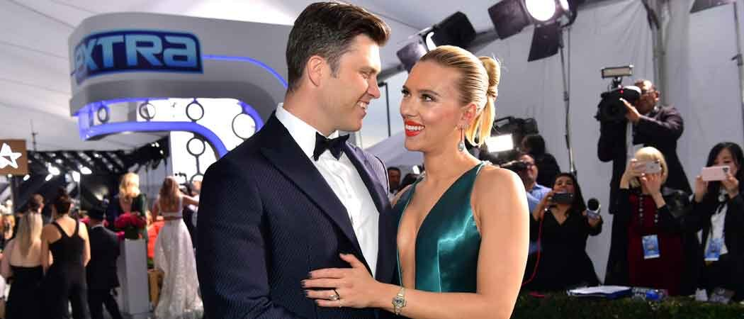 Scarlett Johansson & Fiance Colin Jost Cuddle Up On SAG Red Carpet