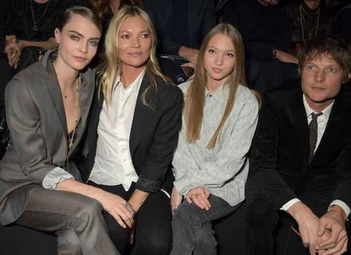 Cara Delevingne, Kate Moss, Lila Moss & Nikolai Von Bismarck Sit Front At Paris Fashion Week