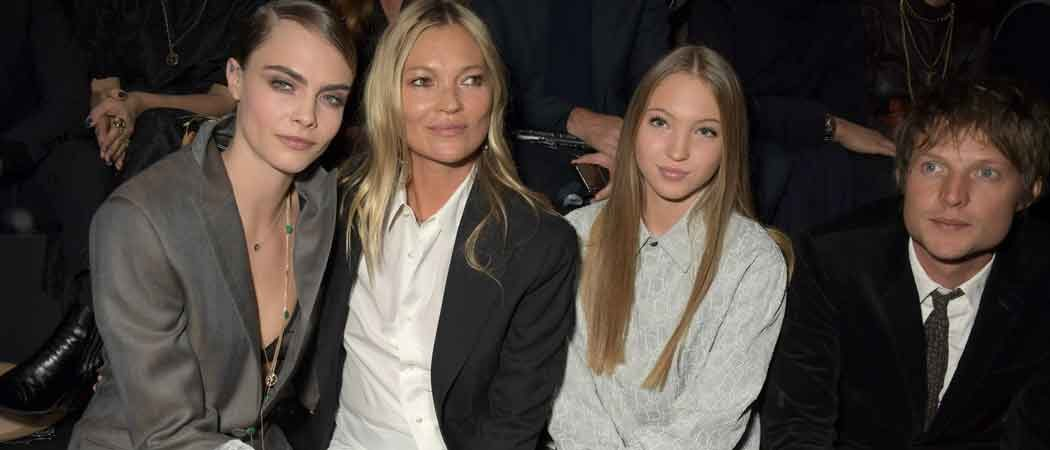 Cara Delevingne, Kate Moss, Lila Moss & Nikolai Von Bismarck Sit Front At Paris Fashion Week