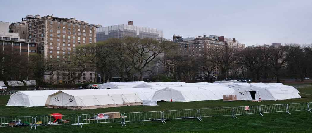 Field Hospital Setup In Central Park As Coronavirus Pandemic Grips New York
