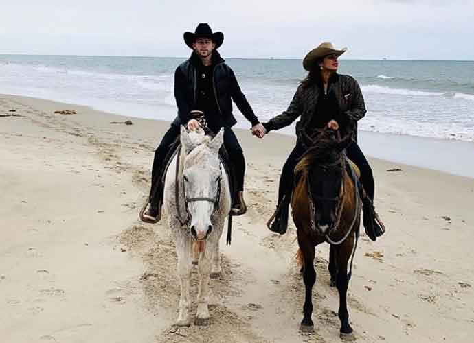 Priyanka Chopra & Nick Jonas Go Horseback Riding Date On Beach In Carpinteria, California