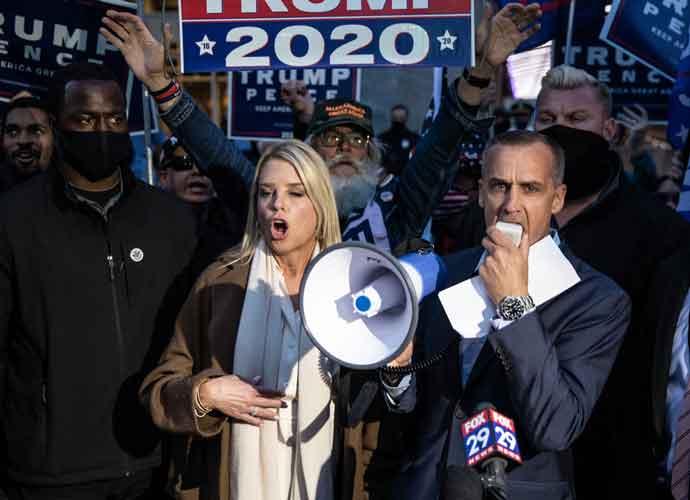 Trump Campaign Advisers Corey Lewandowski & Pam Bondi Protest Vote Counting In Philadelphia