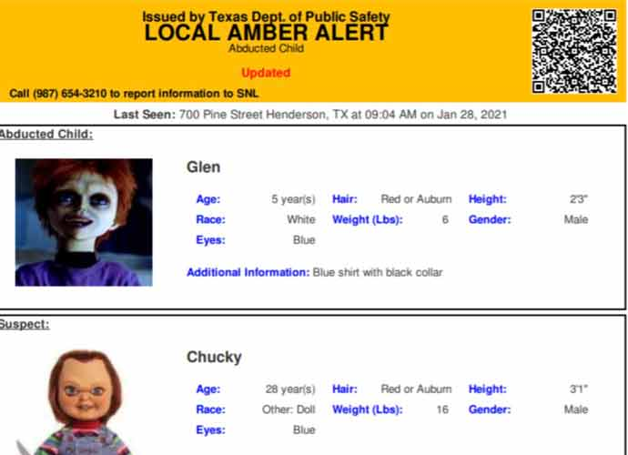 Texas Police Apologize For Putting Out Amber Alert For Missing Child With Abductor 'Chucky'