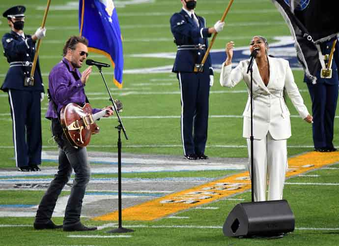 WATCH: Eric Church & Jazmine Sullivan Perform The National Anthem At Super Bowl LV