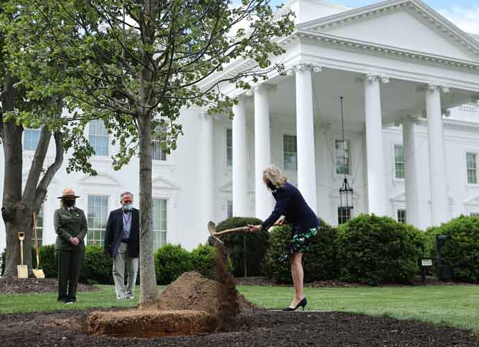 First Lady Jill Biden Plants Trees On White House Lawn For Arbor Day