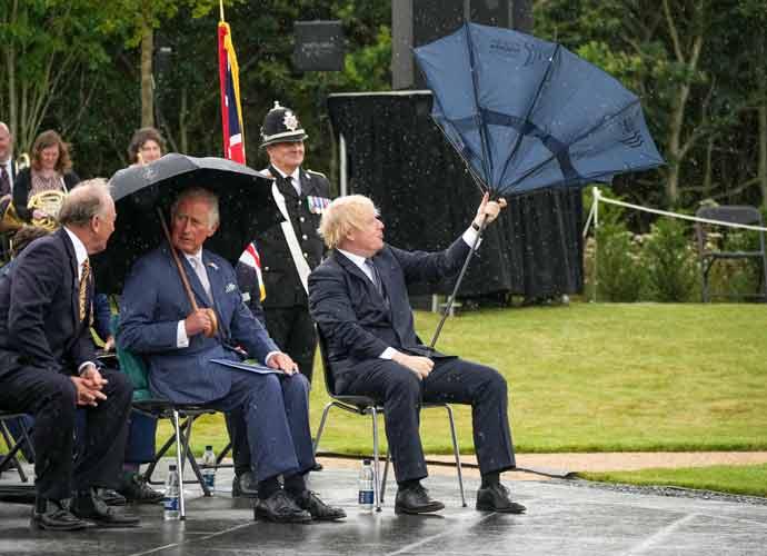 Prince Charles Laughs As Boris Johnson Battles Inverted Umbrella