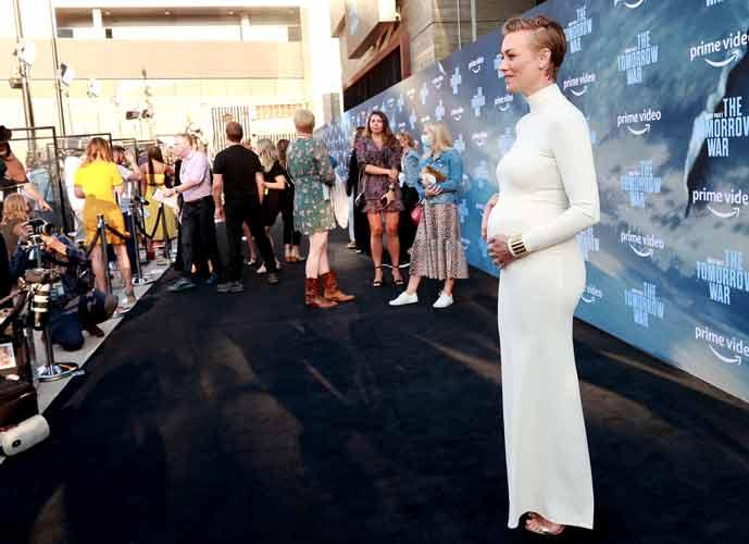 Yvonne Strahovski Reveals Baby Bump At 'Tomorrow War' Premiere