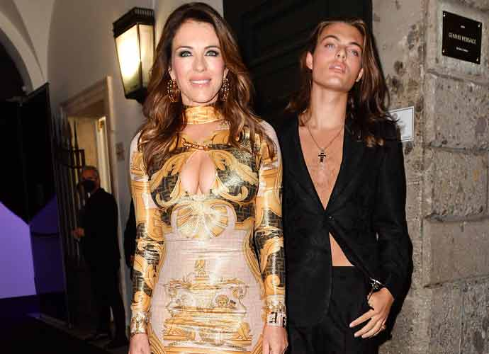 Elizabeth Hurley & Son Damian Hurley Bond At Milan Fashion Week Fendace Show