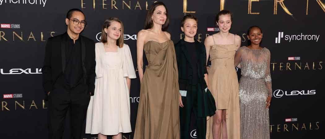 Angelina Jolie & Kids Walk Red Carpet At Marvel's 'Eternals' Premiere
