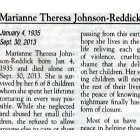 Scathing Obituary: Marianne Theresa Johnson-Reddick Recalled As Abusive Mom, Children Celebrate Death
