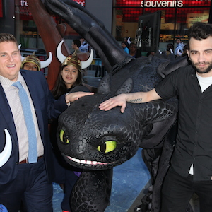 Jonah Hill & Jay Baruchel Pose With Toothless At 'How To Train Your Dragon 2' Premiere