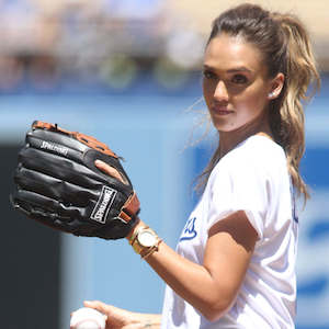 Jessica Alba Throws Out First Pitch At Los Angeles Dodgers Game